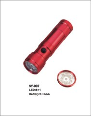 led flashlight with 8 leds +l laser