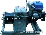 Gasoline engine pulling and assiting capstan winch/winch powered steel wire rope pilot rope linear winder