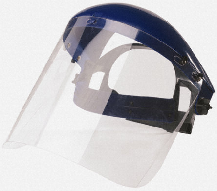 "8"" x 16"" .040 Clear PETG material visor face shield helmet with 1 Inch Hook and Loop strip. Fits Hydroblast Suit."