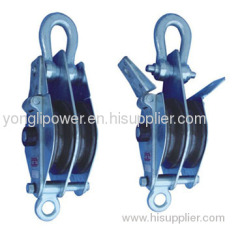 Two ways dual -sheave hoisting tackle pulley