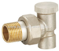angle radiator valve with lockshield