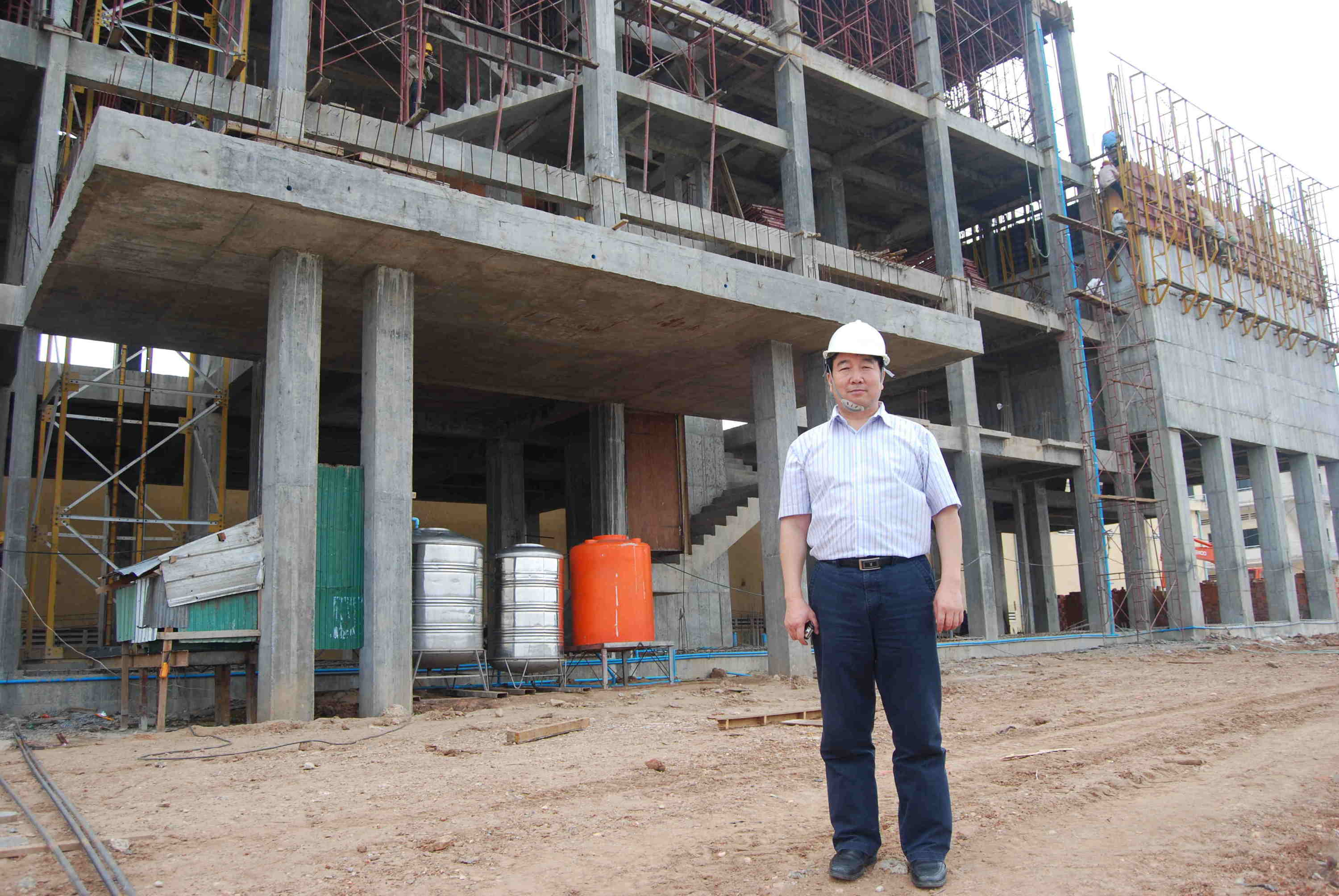 Construction site of one flour factory we designed in Vietnam