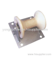 Steel plate supported cable ground roller pulley block