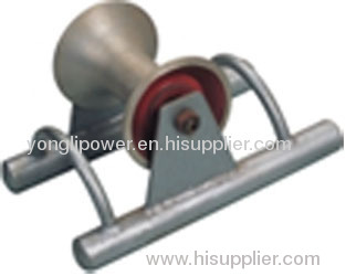 Steel pipe supported cable ground roller pulley block