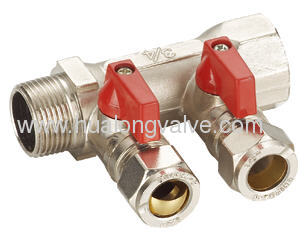 2 ways manifold with mini ball valve
