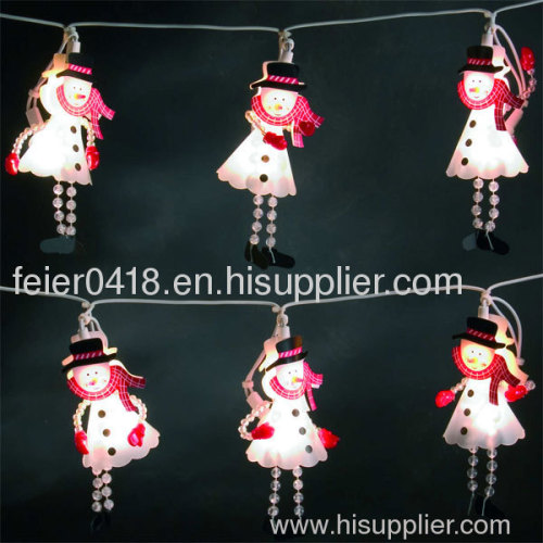led snowman candle chain