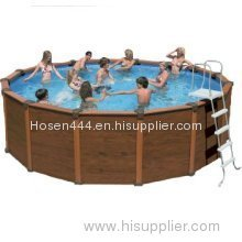 Intex Sequoia Spirit 16' Round x 49 Tall Wood-Grain Pool Set