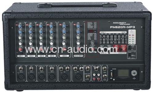 Профессиональный 6-канальный Power Mixer PM620A-MP3.