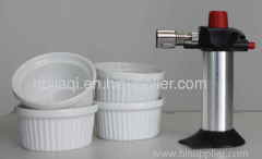 Creme brulee butane with 4 white procelain bowls