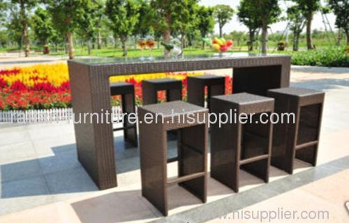 Outdoor indoor Patio Garden Furniture PE Wicker Bar Table Ba