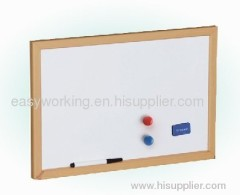 white board with wood frame