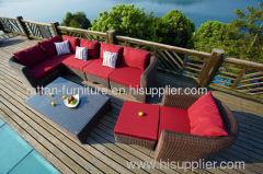 Outdoor garden rattan 3mm round wicker sofa sets lounge