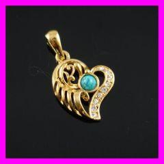 FJ heart shape 18K gold plating pendant