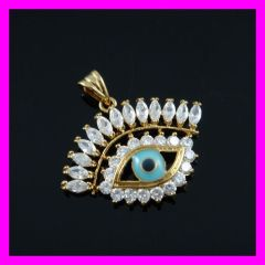 gold plated evil eye zircon pendant