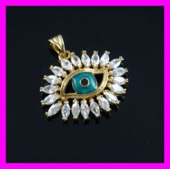 18k gold plated evil eye zircon pendant FJ 1640033