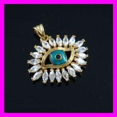 18k gold plated evil eye zircon pendant