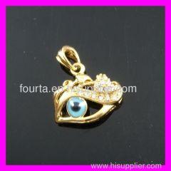 FJ evil eye 18K gold plated pendant