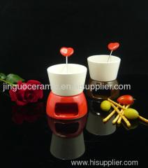 ceramic mini fondue set