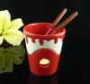 Ceramic fondue set with forks