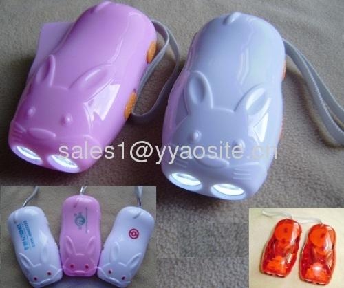 rabbit shape dynamo hand press flashlight