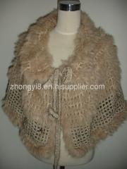 crochet cape with rabbit fur knit