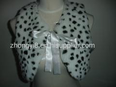 Genuine rabbit fur vest with leapord print