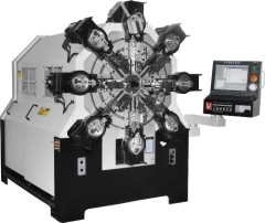 Camless CNC multi-axes rotary wire spring former machine