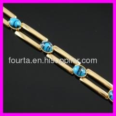 FJ delicate18K gold plated turquoise bracelet
