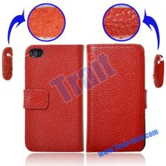 Genuine Leather Lichee Pattern Flip Magnet Closure Case Cover for iPhone 4(Red)