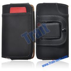 Flip Leather Holster Case for iPhone 4G/3G/3GS, and Other Phones