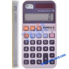 Fashionable and Newest TPU Calculator Case for iPhone 4 (White)