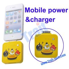 Angry Birds Design Style External Backup Mobile Power Station Charger 1000mAh for Apple i-Series(Yellow)