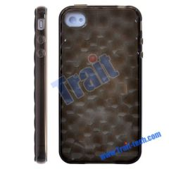 The Water Cube Pattern TPU Soft Case for iPhone 4(Black)