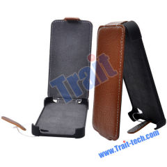 Genuine Leather Lichee Pattern Flip Closure Case Cover for iPhone 4(Brown)