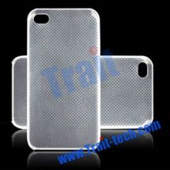 Original Quality Goods Ultra-thin Transparent Nets Case Cover For iPhone 4(White)