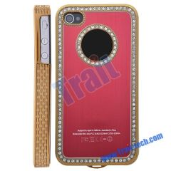 Diamond Edge Electroplating Case for iPhone 4(Red)
