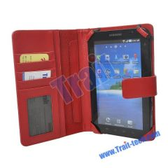 7 Inch Leather Case for Samsung MID with Card Slots (Red)