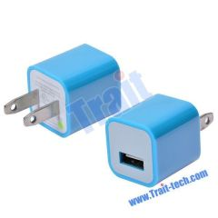 Mini Colorful Cube USB Hub Power adapter for iPhone, iPod , US Plug(Baby blue)