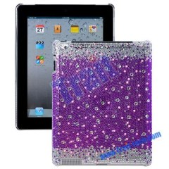 Hot Bling Bling Splash Diamond Case For Apple iPad 2(Purple)