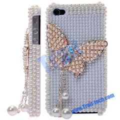 Luxurious Lovely Butterfly Diamond Case for iPhone 4(White)