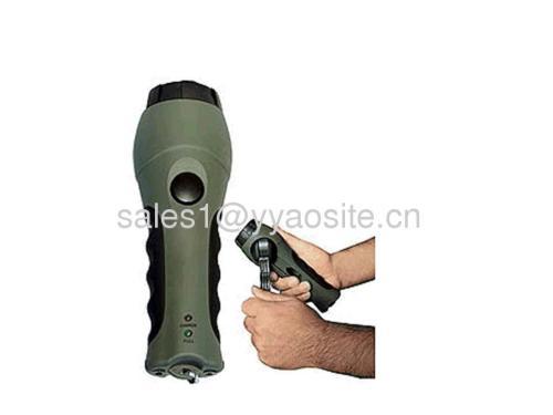 hand cranking dynamo flashlight