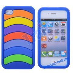 2011 Brand New Rainbow Shape Pattern Silicone Case for iphone 4(Blue)