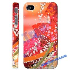Japanese Kimono Floral Design Protective Hard Case for iPhone 4