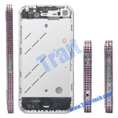 Red Diamond Frame Metal Middle Plate Housing Cover with Small Parts for iPhone 4 (Siliver)