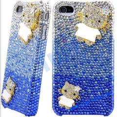Deluxe Series 3D Kitty Cat Rhinestone Diamond Bling Hard Case for iPhone 4