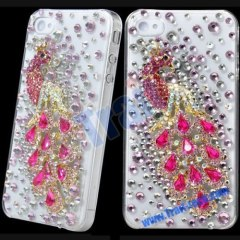 Luxurious 3D Rhinestone Diamond Crystal Plastic Hard Case for iPhone 4(Pink Peacock)