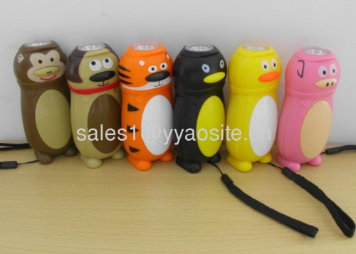 animal shapes hand press dynamo flashlight
