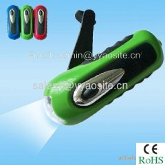 hand-cranking dynamo flashlight
