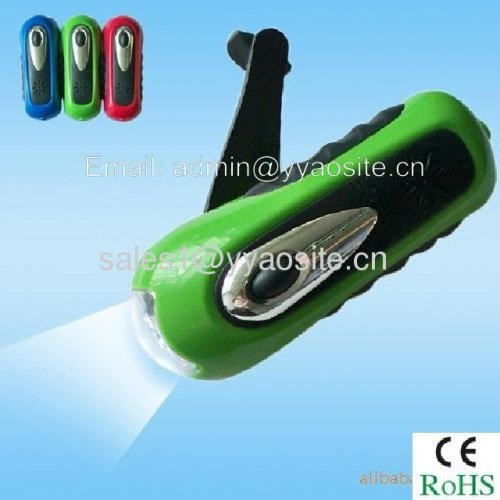 hand-cranking dynamo flashlight