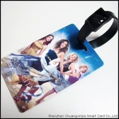 plastic luggage tag with black rubber belt